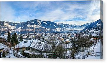 Dreamy Winter Village And Mountain Lake Canvas Print by JR Photography