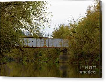 Dreary Bridge Dreary Day Canvas Print by Alan Look
