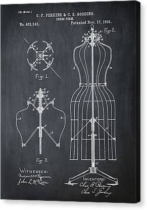 Dress Form Patent 1891 Chalk Canvas Print by Bill Cannon