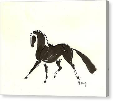 Dressage Trot Canvas Print by Liz Pizzo