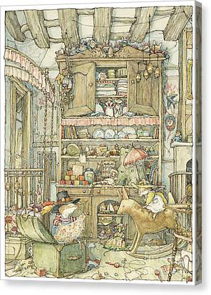 Dressing Up At The Old Oak Palace Canvas Print by Brambly Hedge