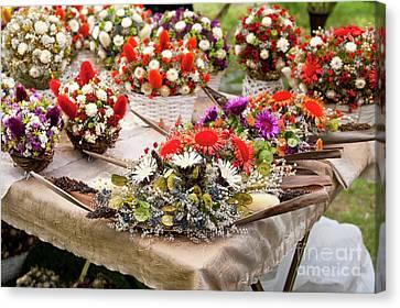 Dried Flowers Arrangements At Fair Canvas Print by Arletta Cwalina