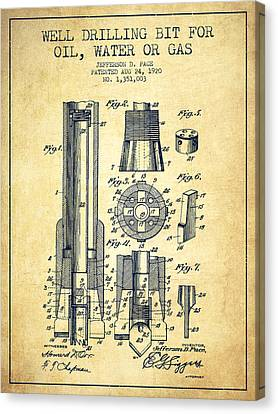 Drilling Bit For Oil Water Gas Patent From 1920 - Vintage Canvas Print by Aged Pixel