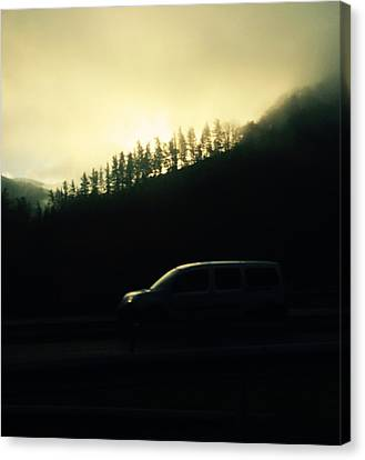 Driving Through The Fog Canvas Print by Contemporary Art