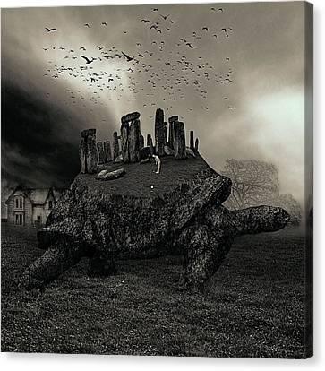Druid Golf Black And White Canvas Print by Marian Voicu
