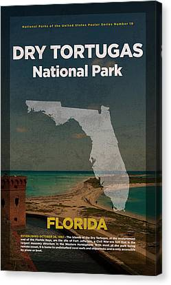 Dry Tortugas National Park In Florida Travel Poster Series Of National Parks Number 19 Canvas Print by Design Turnpike