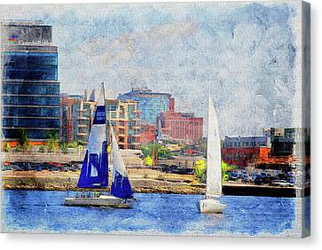 Dual Sailing At The Inner Harbor Waterfront Baltimore, Md.  Canvas Print by Chet Dembeck