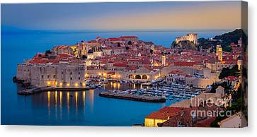 Dubrovnik Twilight Panorama Canvas Print by Inge Johnsson