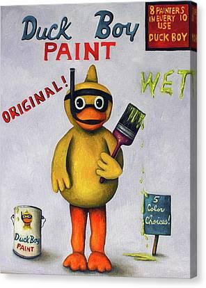 Duck Boy Canvas Print by Leah Saulnier The Painting Maniac