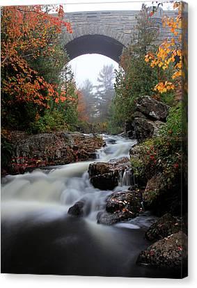 Duck Brook Bridge In The Rain Canvas Print by Dave Storym