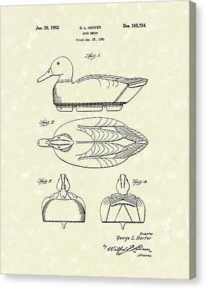 Duck Decoy 1952 Patent Art Canvas Print by Prior Art Design