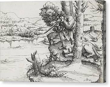 Duck Shooting With Firearms Canvas Print by Augustin Hirschvogel