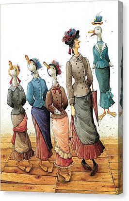 Ducks Dance Canvas Print by Kestutis Kasparavicius