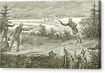 Duel Between Alexander Hamilton And Aaron Burr Canvas Print by American School