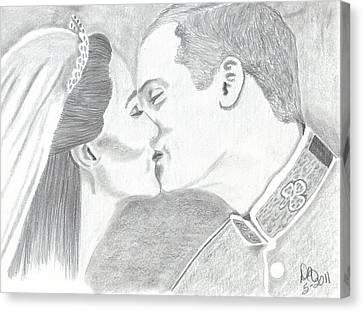 Duke And Duchess Of Cambridge Canvas Print by DebiJeen Pencils