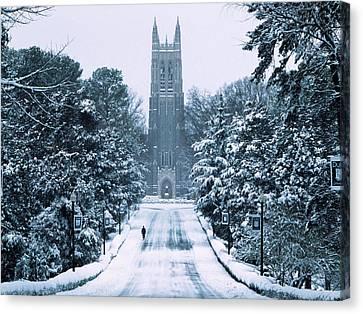 Duke Snowy Chapel Drive Canvas Print by Duke University