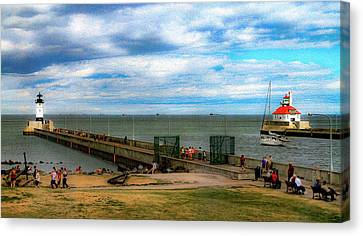 Duluth Canal Park Lighthouses Canvas Print by Bonnie Follett