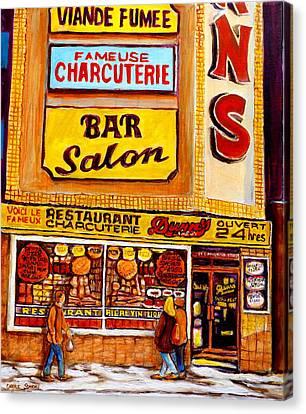 Dunn's Restaurant Montreal Canvas Print by Carole Spandau