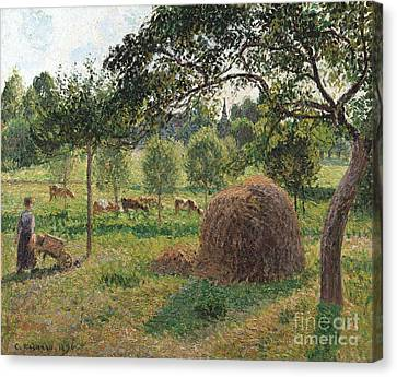 Dusk At Eragny Canvas Print by Camille Pissarro