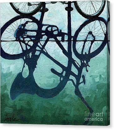 Dusk Shadows - Bicycle Art Canvas Print by Linda Apple