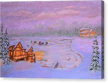 Dusk Winter Lake Canvas Print by Ken Figurski