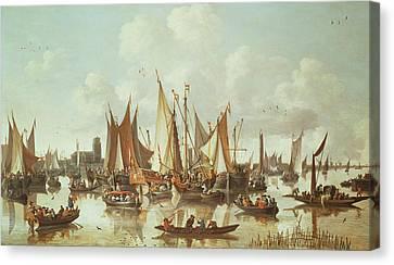 Dutch Ships At Dordrecht Harbor Canvas Print by Hendrick de Meyer