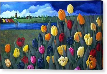 Dutch Tulips With Landscape Canvas Print by Joyce Geleynse