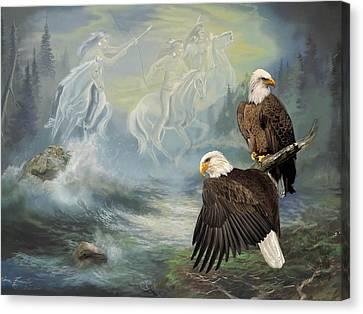 Eagels And Native American  Spirit Riders Canvas Print by Regina Femrite