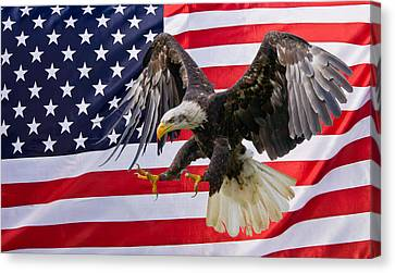 Eagle And Flag Canvas Print by Scott Carruthers