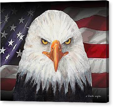 Eagle And The Flag Canvas Print by Arline Wagner