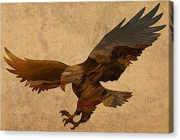 Eagle Patriotic Silhouette With American Countryside Scenery On Parchment Canvas Print by Design Turnpike