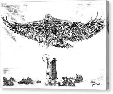 Eagle Visit Canvas Print by John Keaton