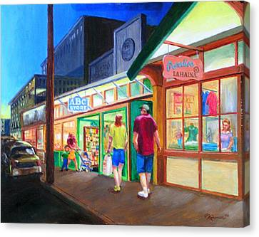 Early Evening Shoppers Canvas Print by Bob Newman