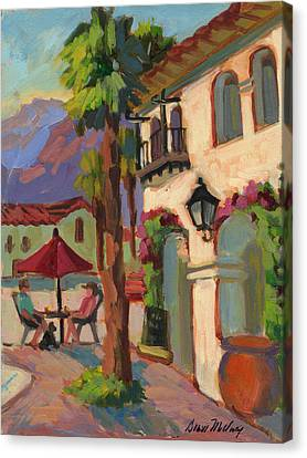 Early Morning Coffee At Old Town La Quinta Canvas Print by Diane McClary