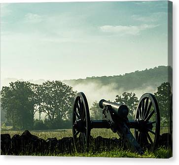 Early Morning Fog On Battlefield Canvas Print by Bill Caldwell