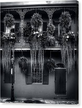 Early Morning In New Orleans In Black And White Canvas Print by Chrystal Mimbs