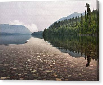 Early Morning On Lake Mcdonald II Canvas Print by Sharon Foster