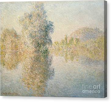 Early Morning On The Seine At Giverny Canvas Print by Claude Monet