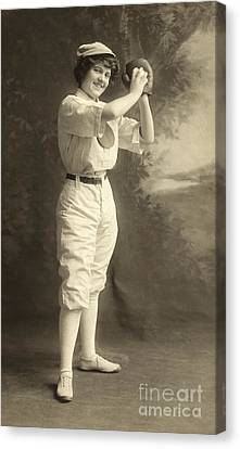 Early Portrait Of A Woman Baseball Player Canvas Print by American School