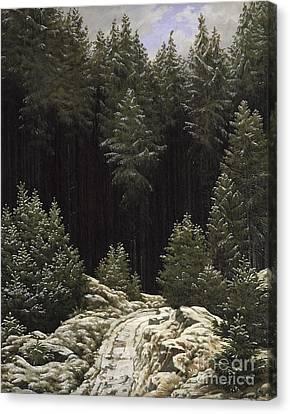 Early Snow Canvas Print by Caspar David Friedrich