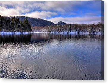 Early Snow On West Lake Canvas Print by David Patterson