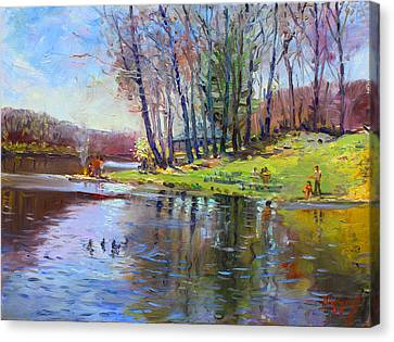 Early Spring In Bear Mountain Canvas Print by Ylli Haruni