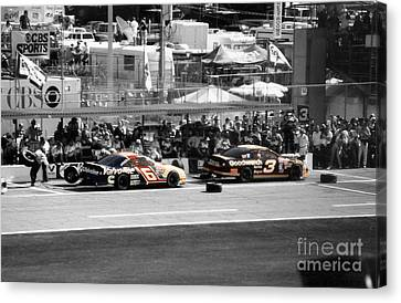 Earnhardt And Martin In The Pits Canvas Print by John Black