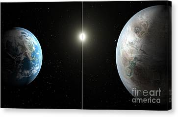 Earth And Exoplanet Kepler-452b Canvas Print by Science Source