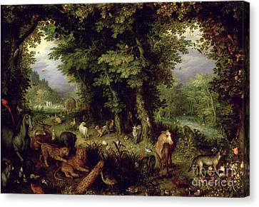 Earth Or The Earthly Paradise Canvas Print by Jan the Elder Brueghel