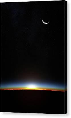 Earth Sunrise Through Atmoshere Canvas Print by Johan Swanepoel