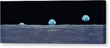 Earth Viewed From The Moon Canvas Print by Panoramic Images