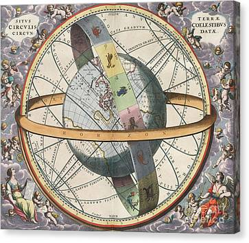 Earth With Celestial Circles Harmonia Canvas Print by Science Source