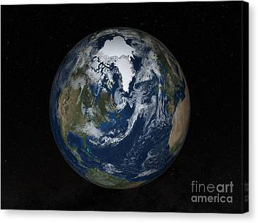 Earth With Clouds And Sea Ice Canvas Print by Stocktrek Images