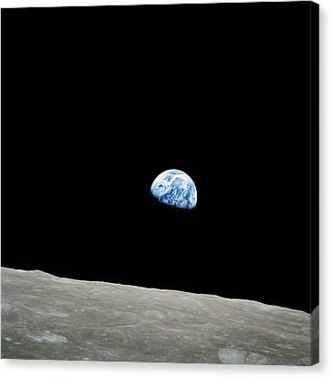 Earthrise Over Moon, Apollo 8 Canvas Print by Nasa